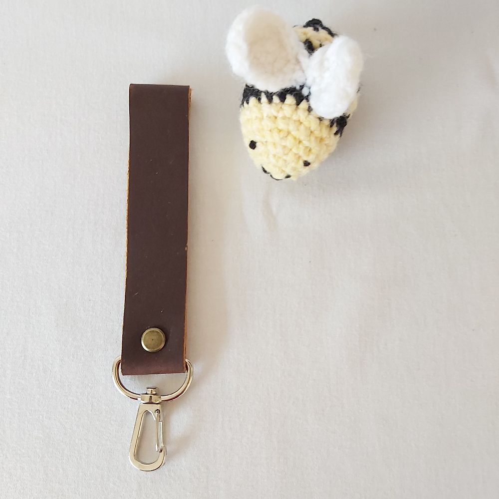 Brown Leather Keyring - Wide