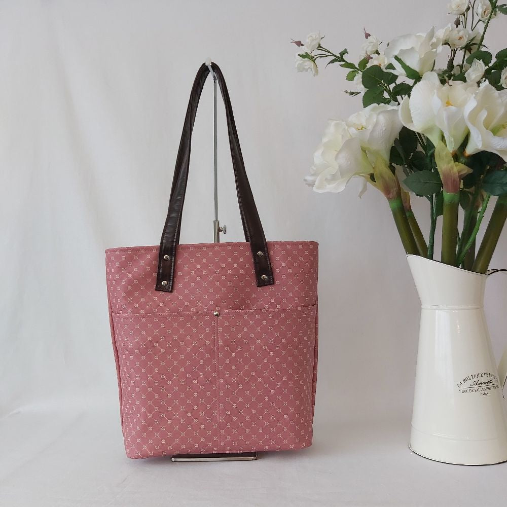 Urban Tote - Blush Pink and and Rich Metallic Circles