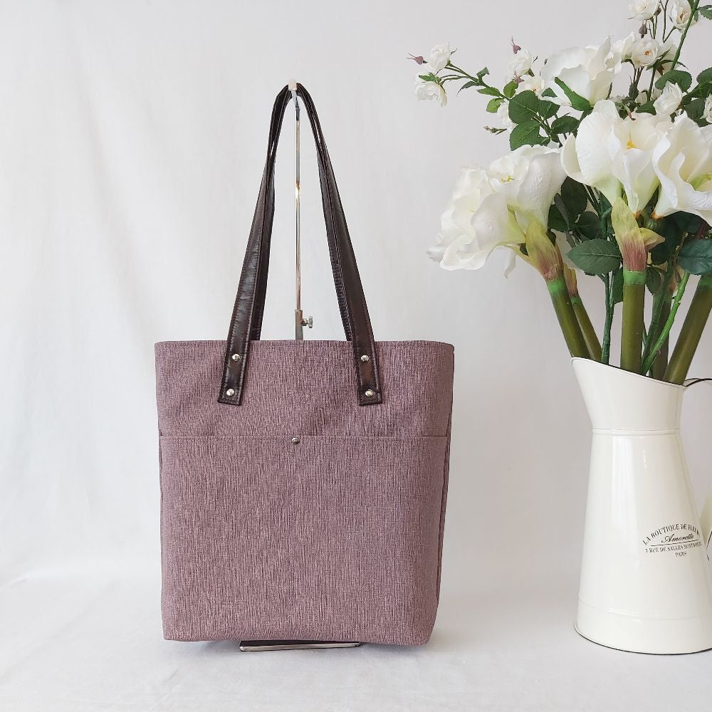 Urban Tote - Purple Linen and Purple Spots