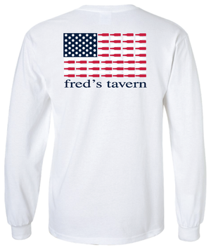 White American Flag Long Sleeve Tee