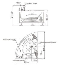 Load image into Gallery viewer, Eago Corner Whirltub for 2 RH 1510mm AM125JCW-1R