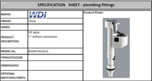 "Load image into Gallery viewer, WDI Fill Valve 1/2"" Bottom Connection B3300MCASV2"