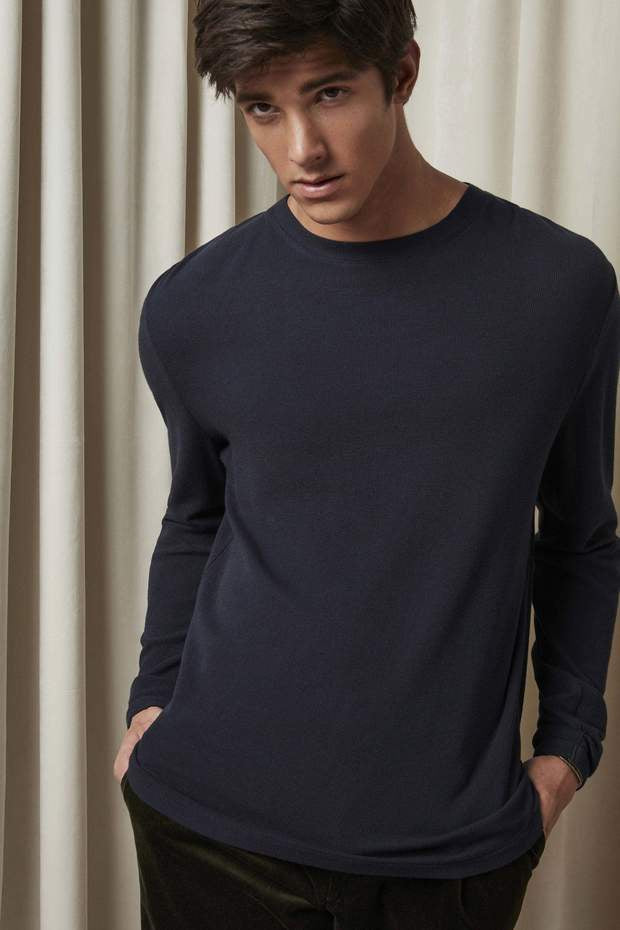 Clive Long Sleeve Tee - Navy Blue