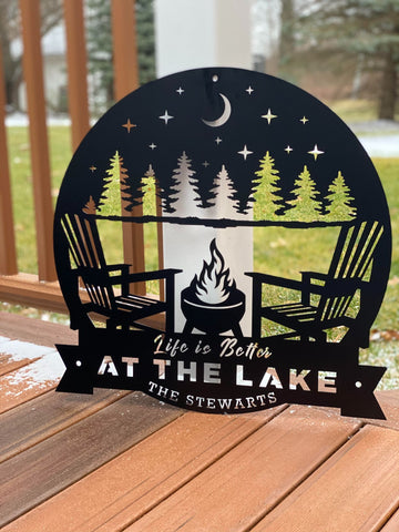Life is better at the lake. Lake house decor sign