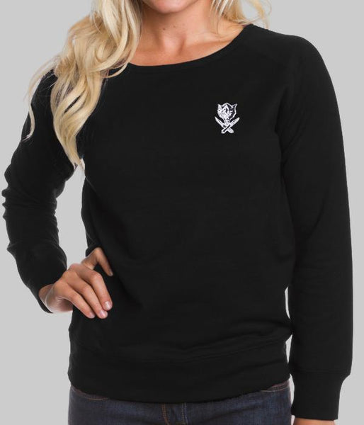 Jason Ellis Wolfknives Embroidered Womens Crewneck Sweatshirt
