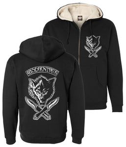 Jason Ellis Wolfknives Sherpa Lined Zip Hooded Sweatshirt