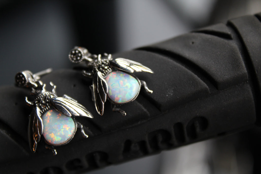 Marcasite Beetle Earring with Opal