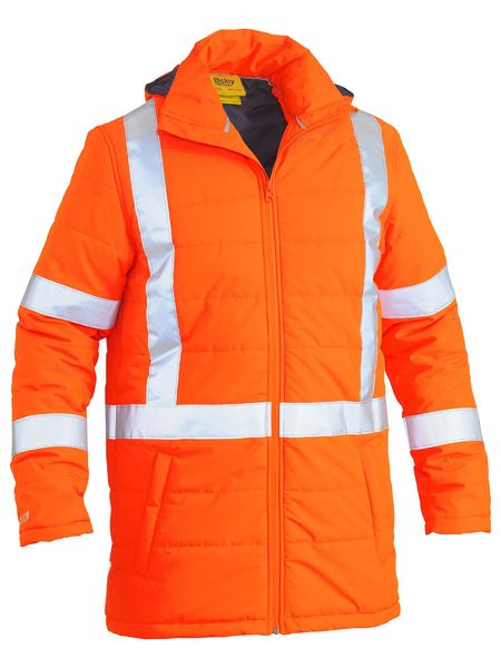 Bisley Hi Vis BioMotion X-Taped Puffer Jacket with Hood