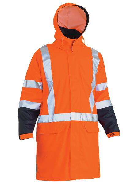 Bisley Hi Vis BioMotion X-Taped Stretch PU Rain Jacket
