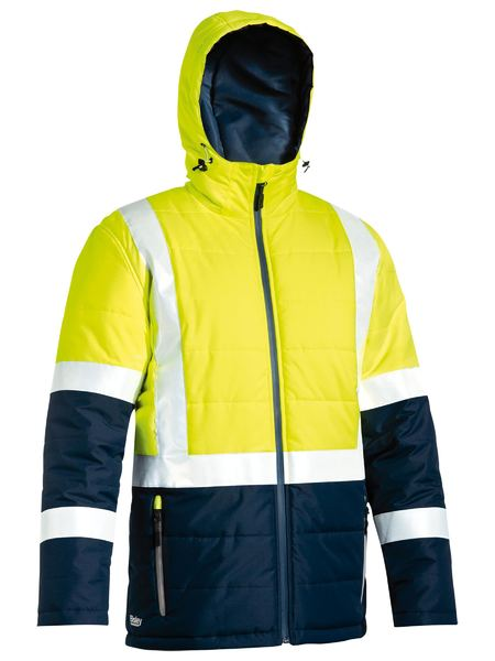 Bisley Hi Vis BioMotion Taped Puffer Jacket with Hood