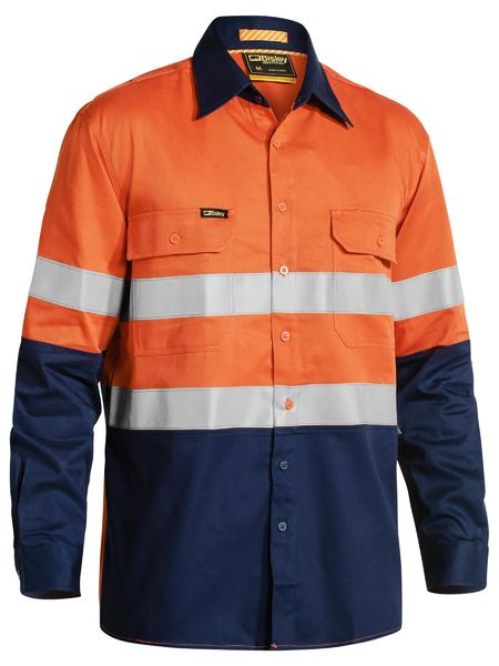 Bisley Industrial Hi Vis Taped Cool Vented Shirt - Long Sleeve