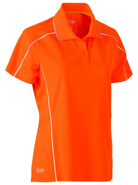 Bisley Women's Cool Mesh Polo with Reflective Piping - Short Sleeve