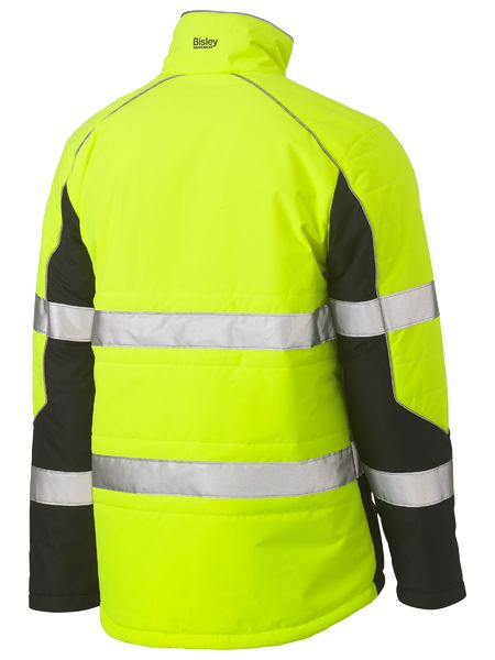 Bisley Hi Vis BioMotion Taped Puffer Jacket with Stand Up Collar