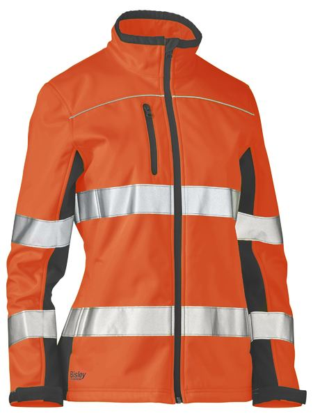 Bisley Women's Hi Vis BioMotion Taped Soft Shell Jacket