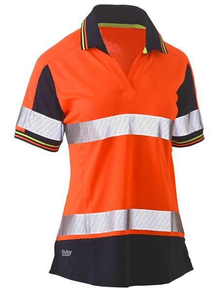 Bisley Women's Hi Vis Taped V-Neck Polo - Short Sleeve