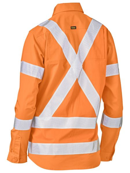 Bisley Womens Hi Vis BioMotion X-Taped Vented Drill Shirt - Long Sleeve