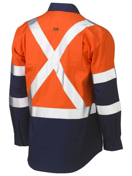 Bisley Hi Vis BioMotion X-Taped Cool Light Weight Drill Shirt - Long Sleeve