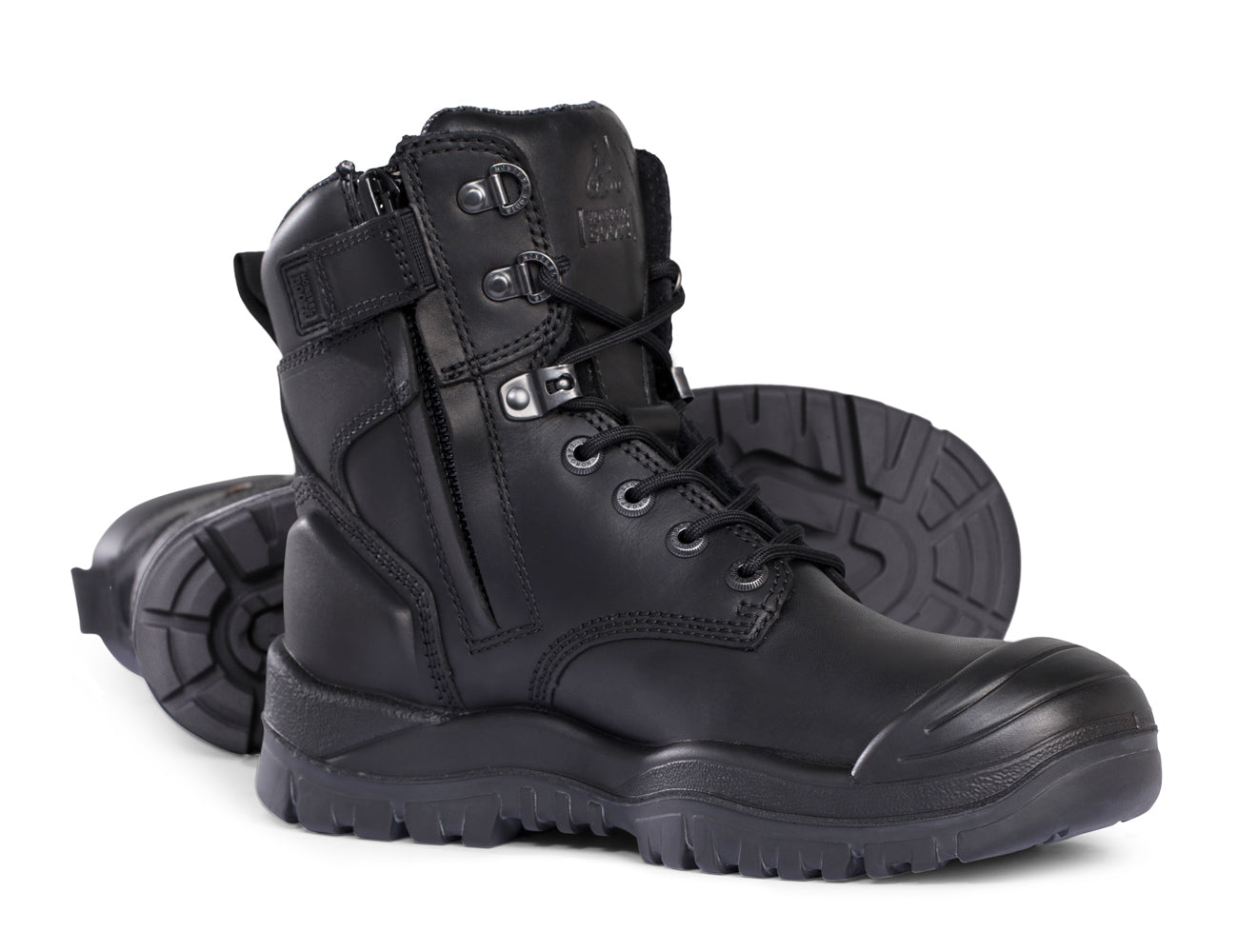 Mongrel High Leg Zip-Sider Safety Boots with Scuff Cap and Rubber Outsole - 561020