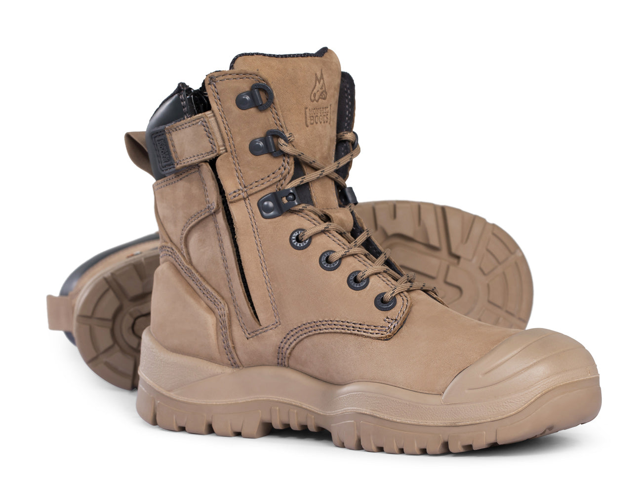 Mongrel High Leg Zip-Sider Safety Boots with Scuff Cap and Rubber Outsole - 561050