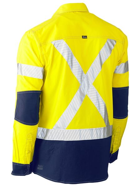 Bisley Flx & Move Hi Vis X-Taped Utility Shirt - Long Sleeve