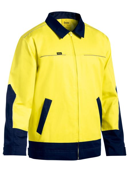 Bisley Hi Vis Drill Jacket with Liquid Repellent Finish