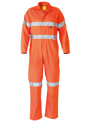 Bisley Hi Vis Taped Light Weight Cotton Drill Coveralls