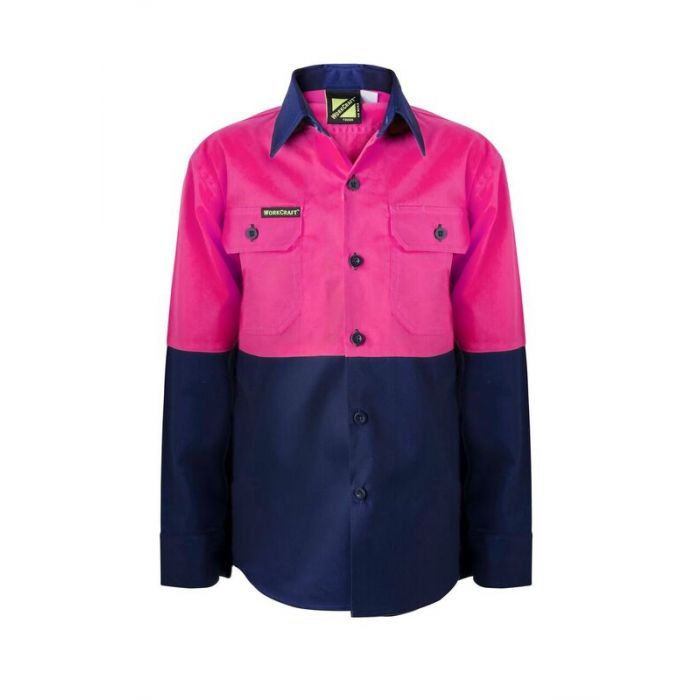 WorkCraft Kids Two-Tone Light Weight Drill Shirt - Long Sleeve