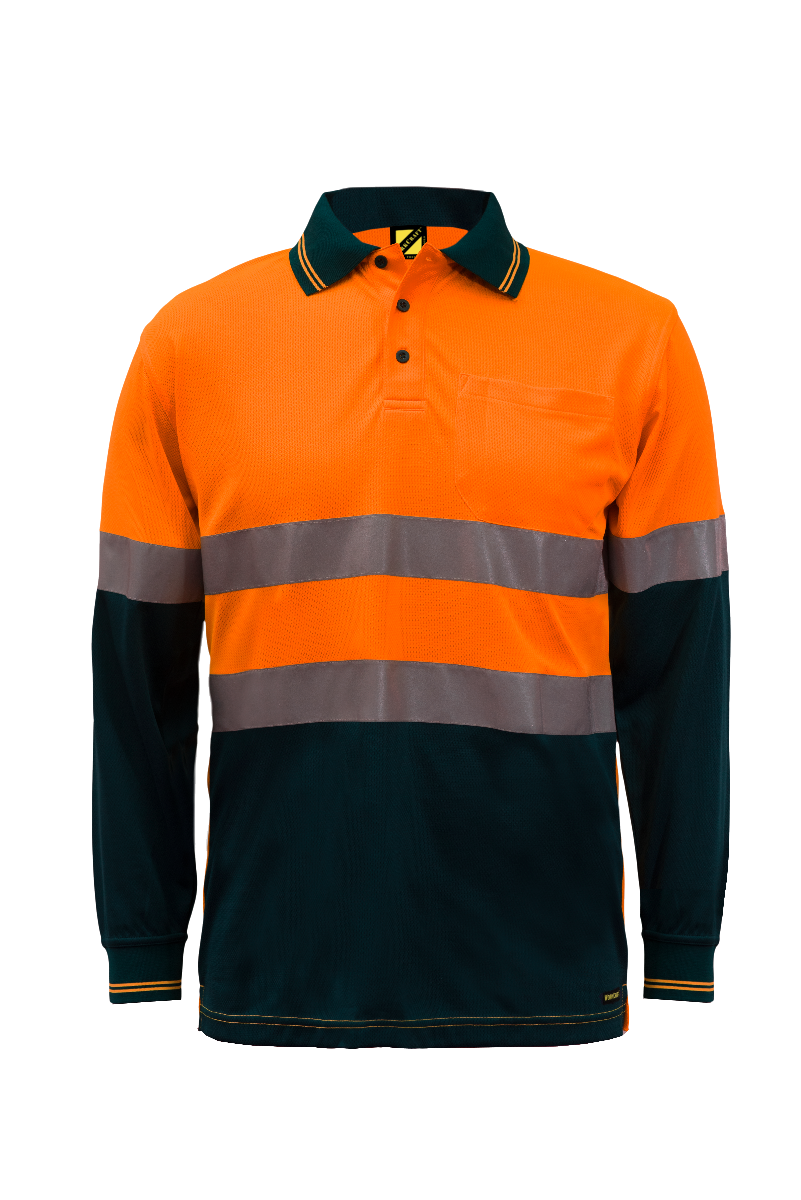 WorkCraft Hi Vis Taped Micromesh Polo - Long Sleeve