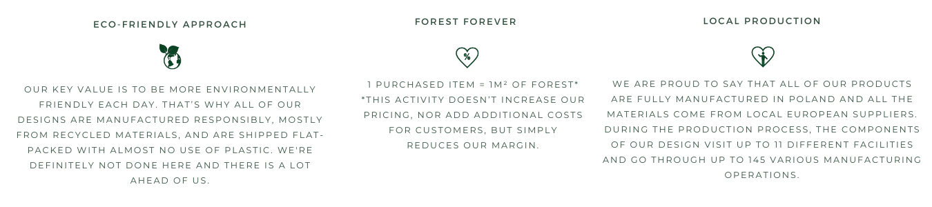 Sustainable features of the brand, such as local manufacturing, planting forest and eco-friendly approach
