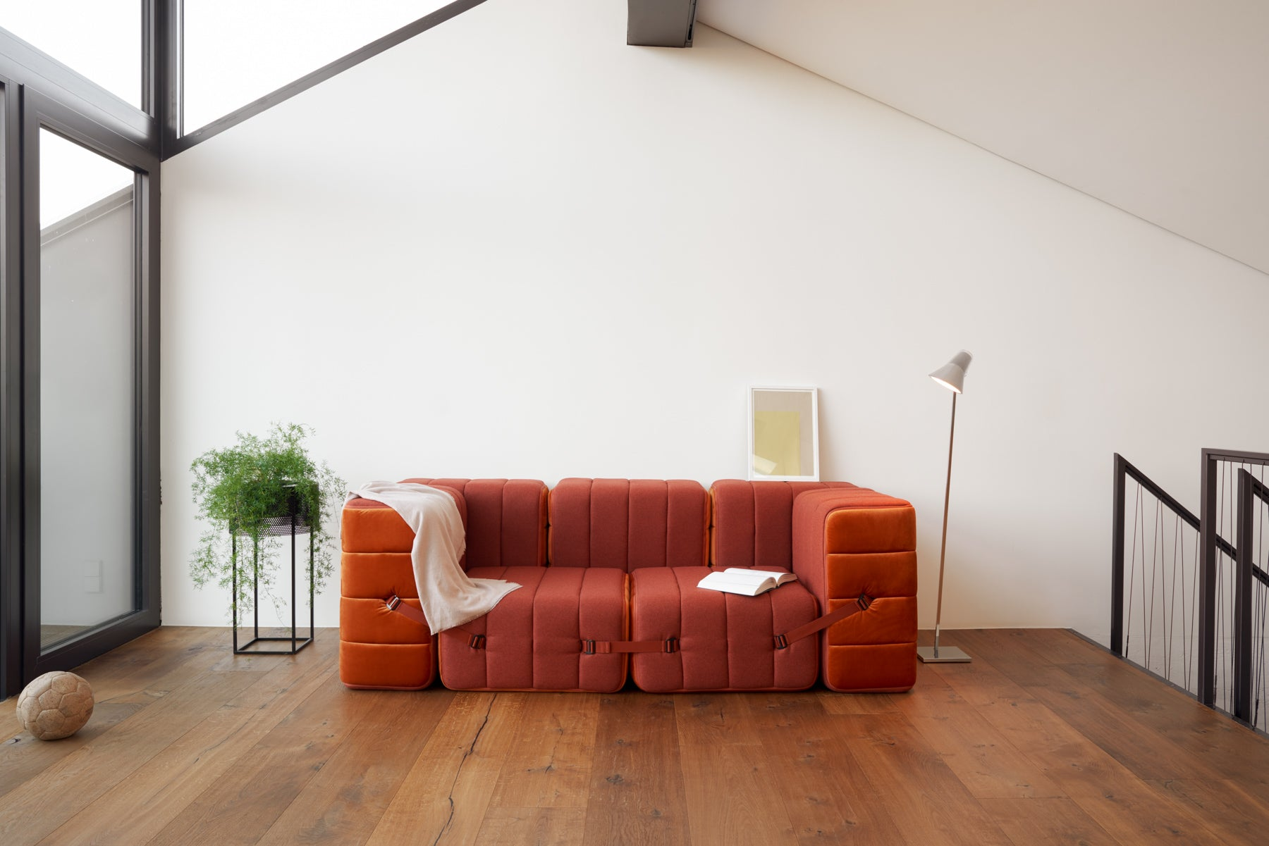 orange foldable functional couch