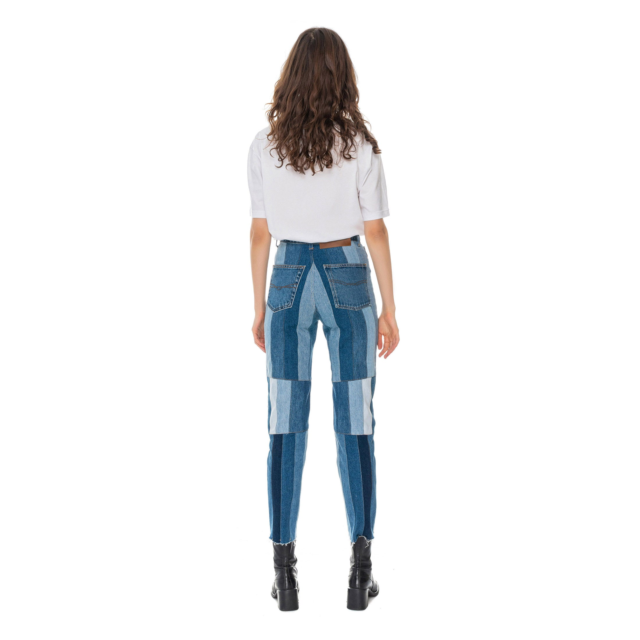 upcycled denim pants from behind