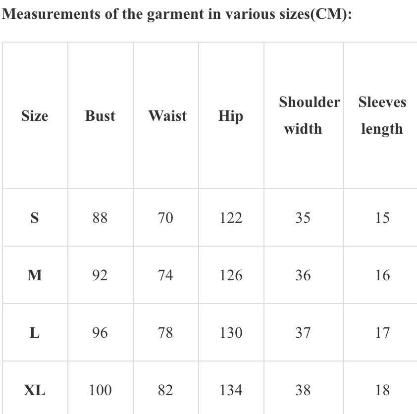 Measurements of the garment in various sizes(CM)