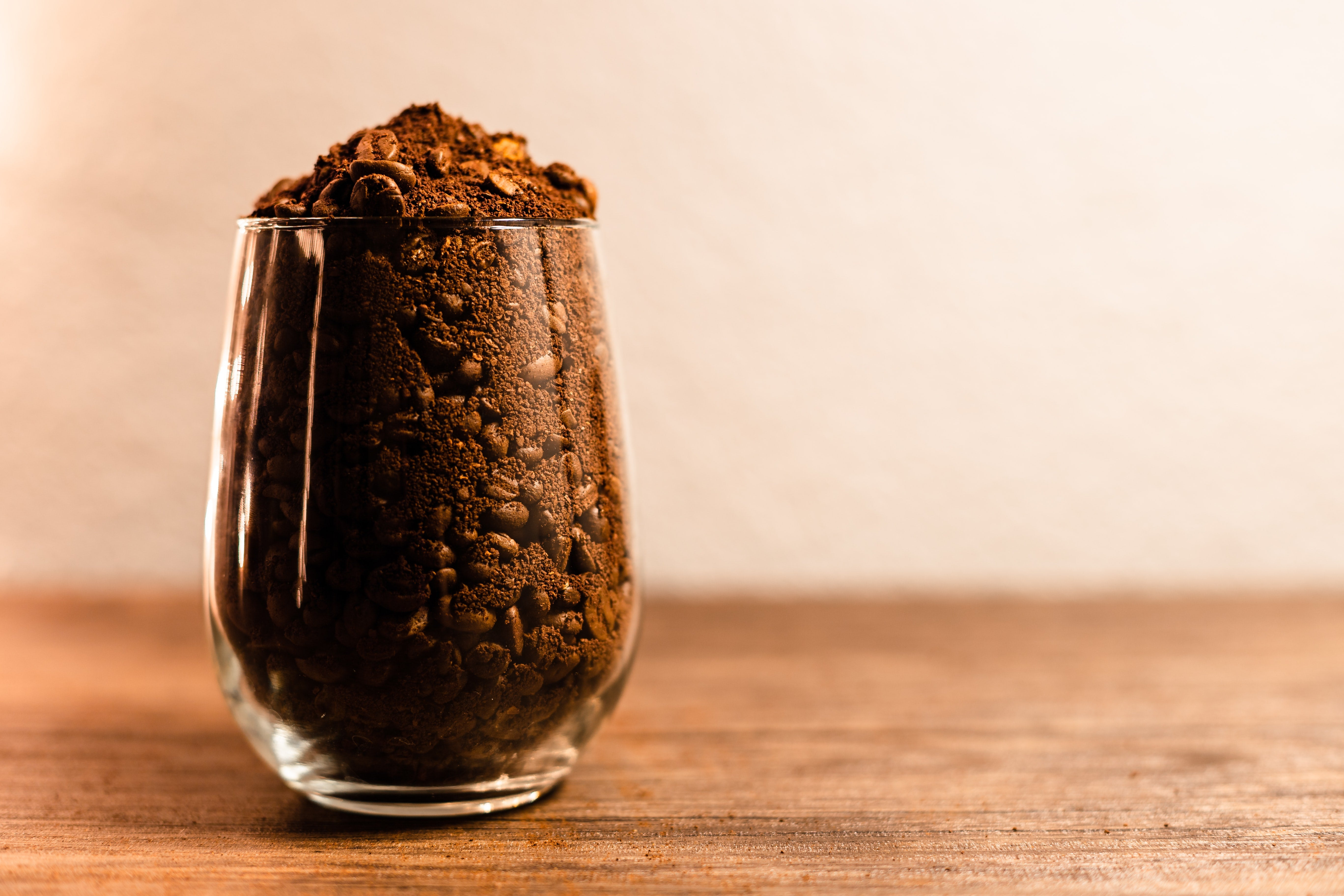 Coffee grounds in a glass