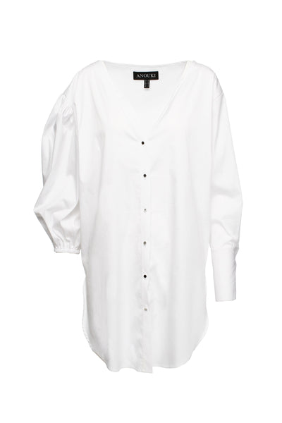 Asymmetric White Shirt With Oversized Right Sleeve