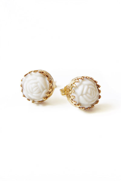Mini Round Porcelain Rose Gold-Filled Stud Earrings