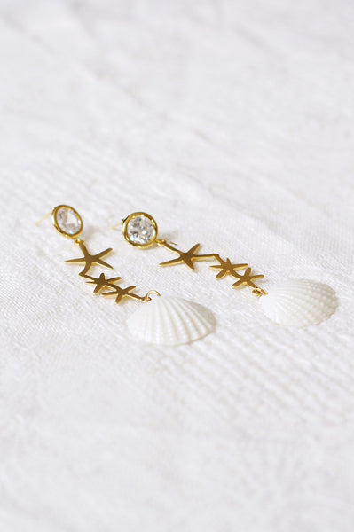 Crystal Star Porcelain Seashell Earrings
