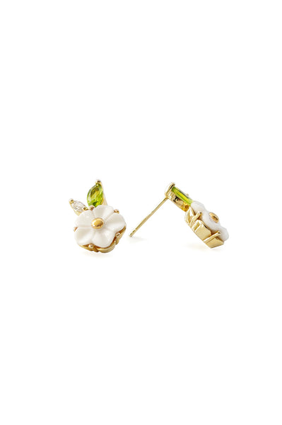 Porcelain Strawberry Flower Stud Earring