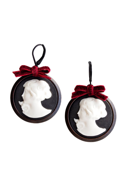 Dark Romance Goddess Round Porcelain Cameo Earrings