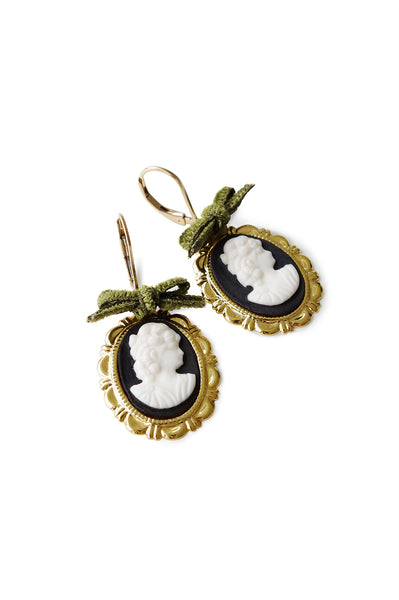 Dark Romance Goddess Oval Porcelain Cameo Earrings