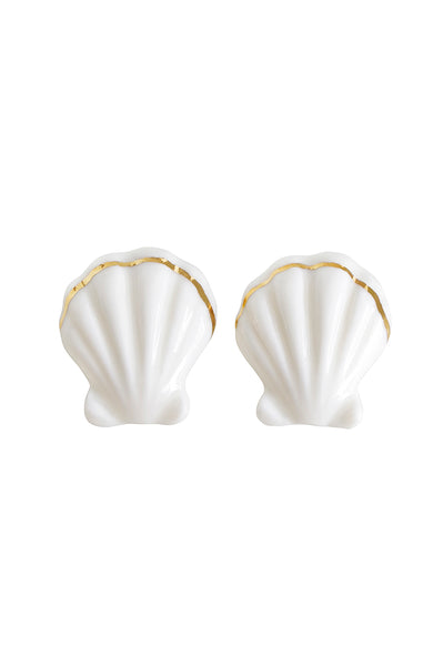 Porcelain Clam Shell Clip-On Earrings