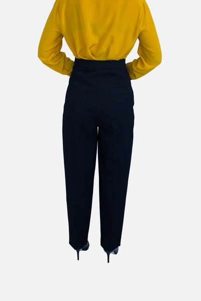 High-Waisted Pleated Wool Pants