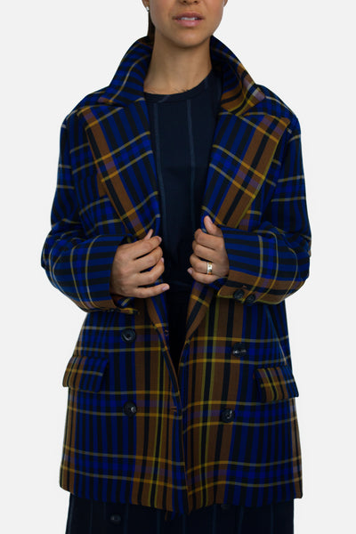 Multicolor Check Oversized Jacket