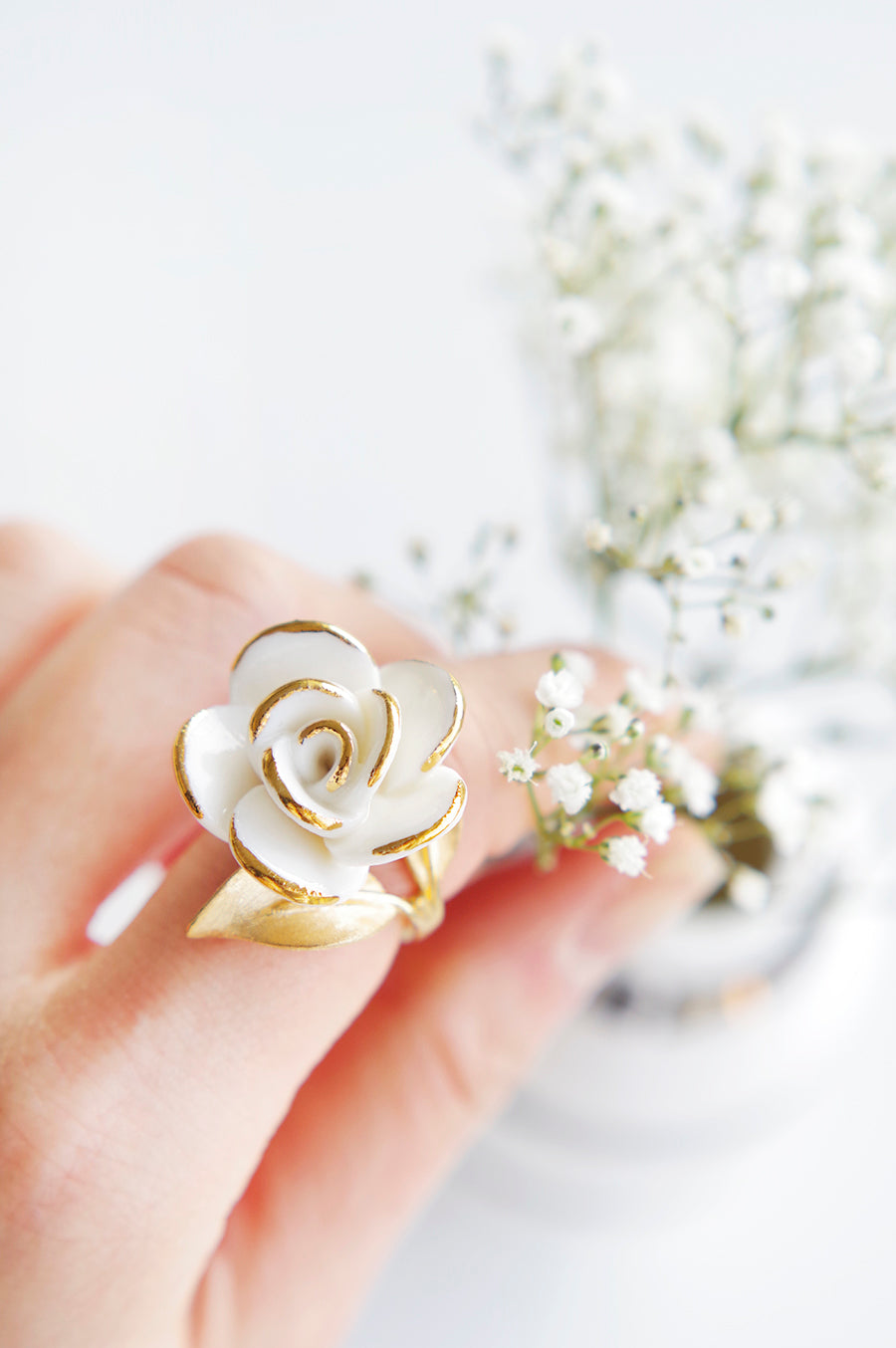 Golden White Cloud Rose Cocktail Ring