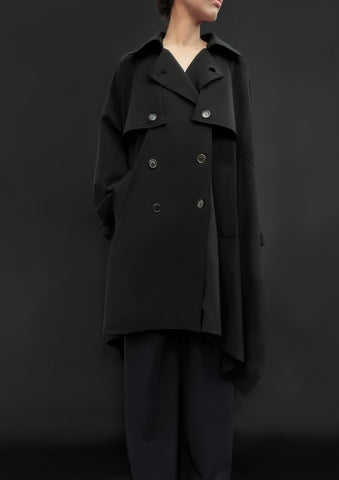 Unisex Virgin Wool Trench Cape Black