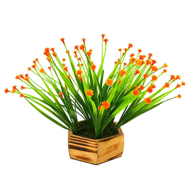 Artificial Button Flower in Small Wood Hexa Pot