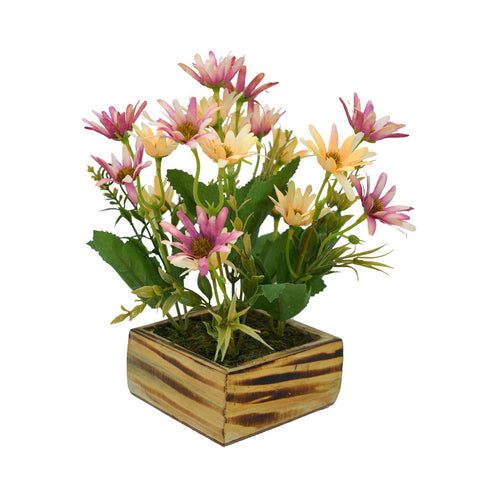 Artificial Flower Icelandic Chrissanthemum in Wood Square Pot
