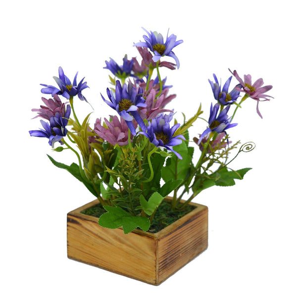 Artificial Flower Icelandic Chrissanthemum in Wood Square Pot - Fancy Mart