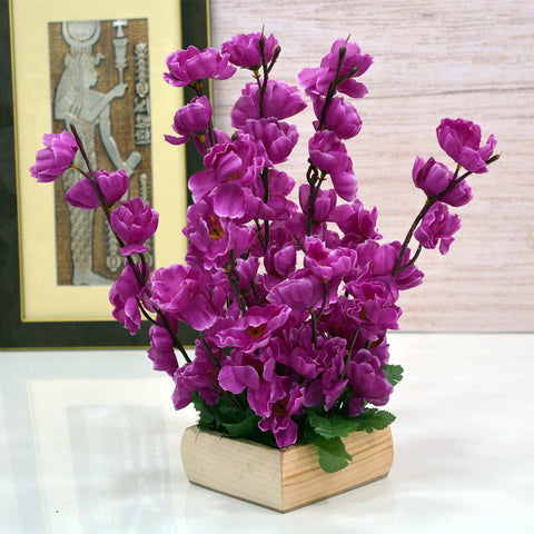Artificial Blosoom Flower with Wooden Pot