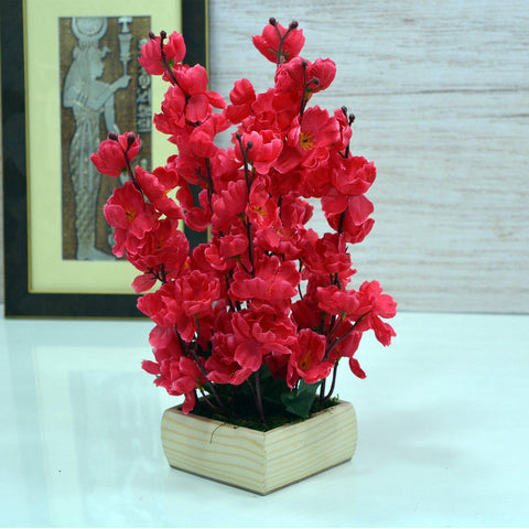 Artificial Blosoom Flower with Wooden Pot - Fancy Mart