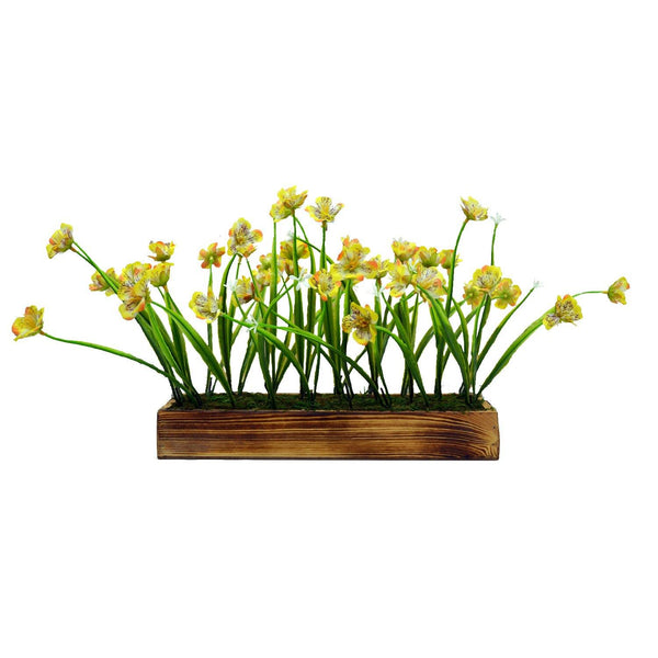 Artificial Flower Grass in Wooden Tray - Fancy Mart